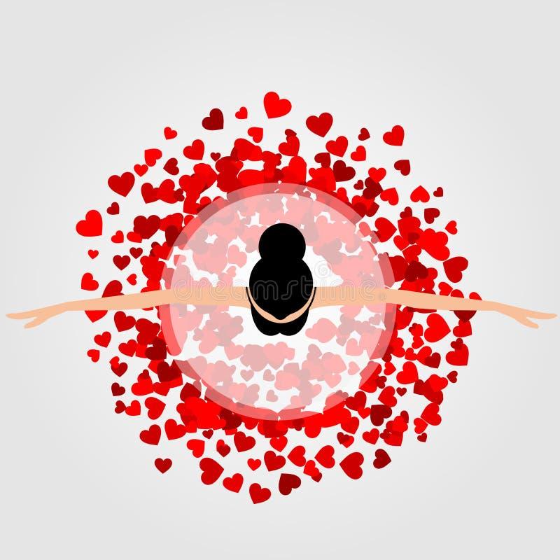 Ballerina die rode hartkleding dragen royalty-vrije illustratie