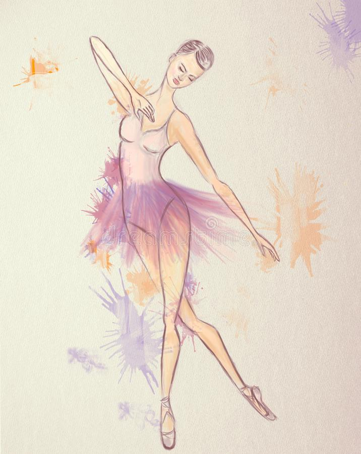 Ballerina Drawing. Beautiful Ballet dance performer stock illustration