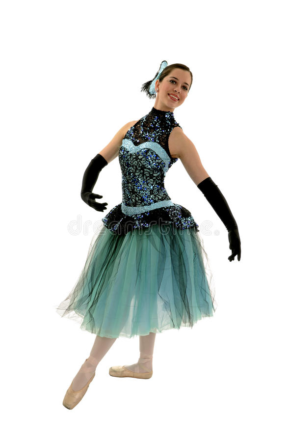 Ballerina elegante in costume romantico di lunghezza fotografia stock