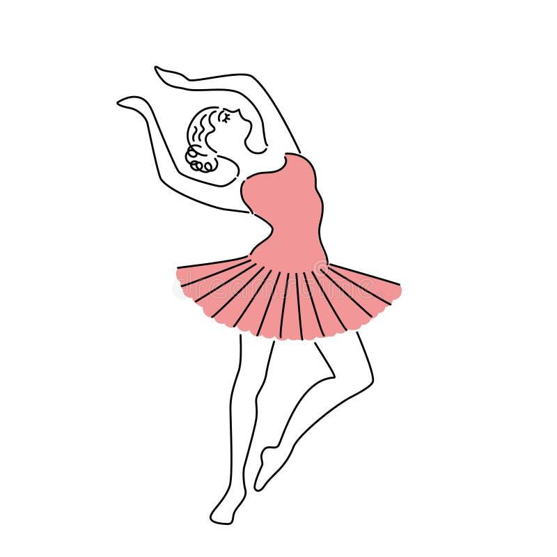 Ballerina felice nell'illustrazione rosa di vettore del vestito Disegno a tratteggio royalty illustrazione gratis