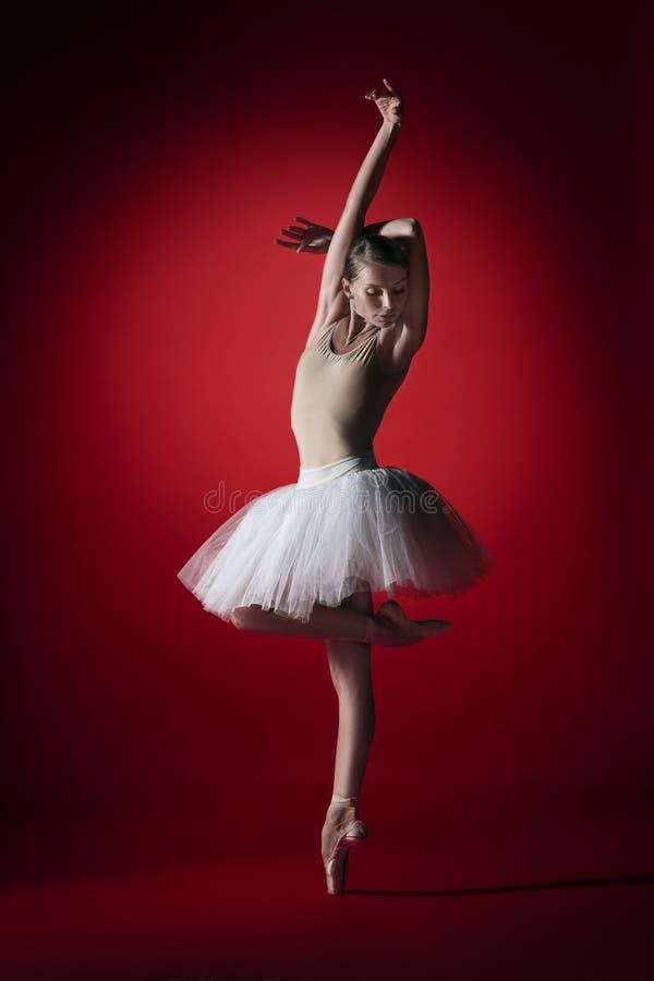 ballerina Giovane dancing femminile grazioso del ballerino di balletto allo studioskill rosso Bellezza di balletto classico immagine stock libera da diritti