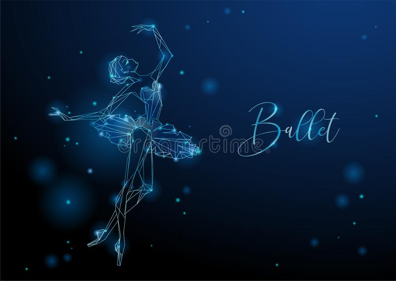 Ballerina. Glowing fantastic picture of a dancing girl. Neon graphics. Vector stock illustration