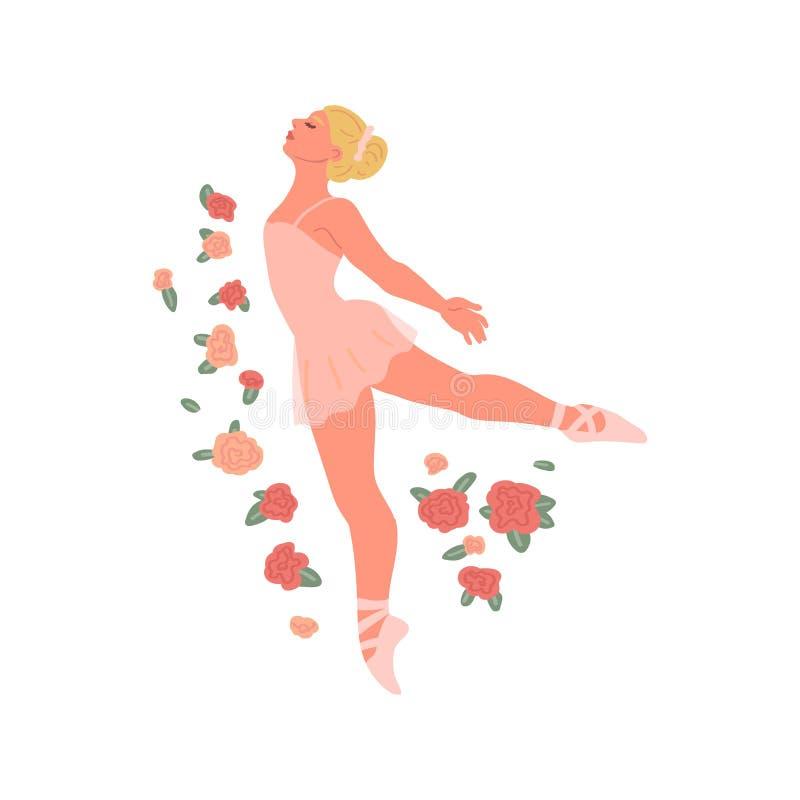 Ballerina graziosa sull'isolato su su fondo bianco Stile del fumetto dell'illustrazione di vettore di balletto di ballo illustrazione vettoriale