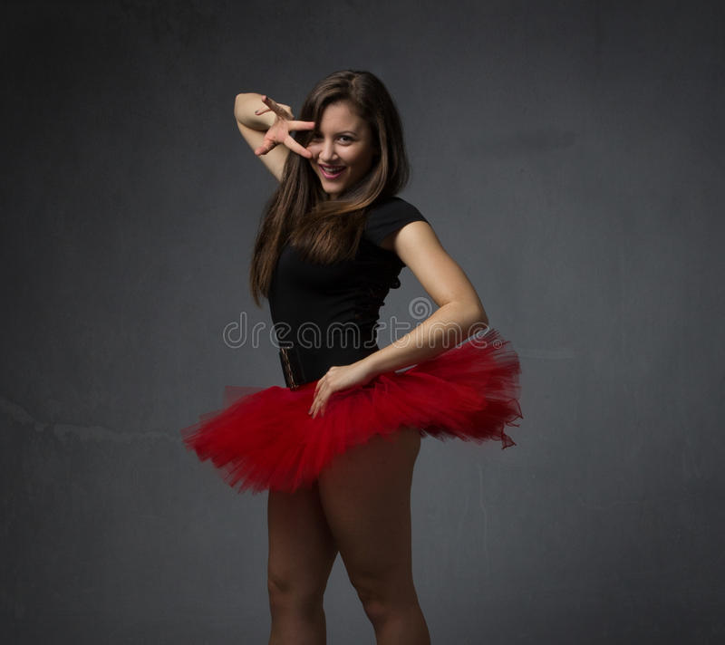 Ballerina have fun in modern dancing stock images