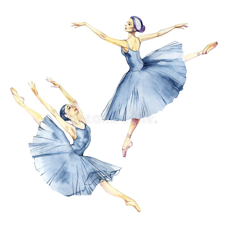 Ballerina het dansen waterverf schilderen geïsoleerd op witte achtergrondgroetkaart royalty-vrije stock afbeelding