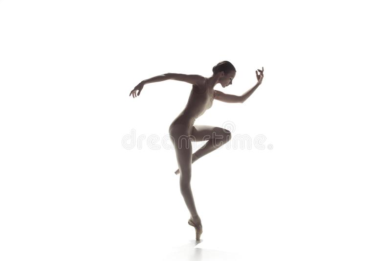 Ballerina Het jonge bevallige vrouwelijke balletdanser dansen geïsoleerd op wit Schoonheid van klassiek ballet royalty-vrije stock fotografie