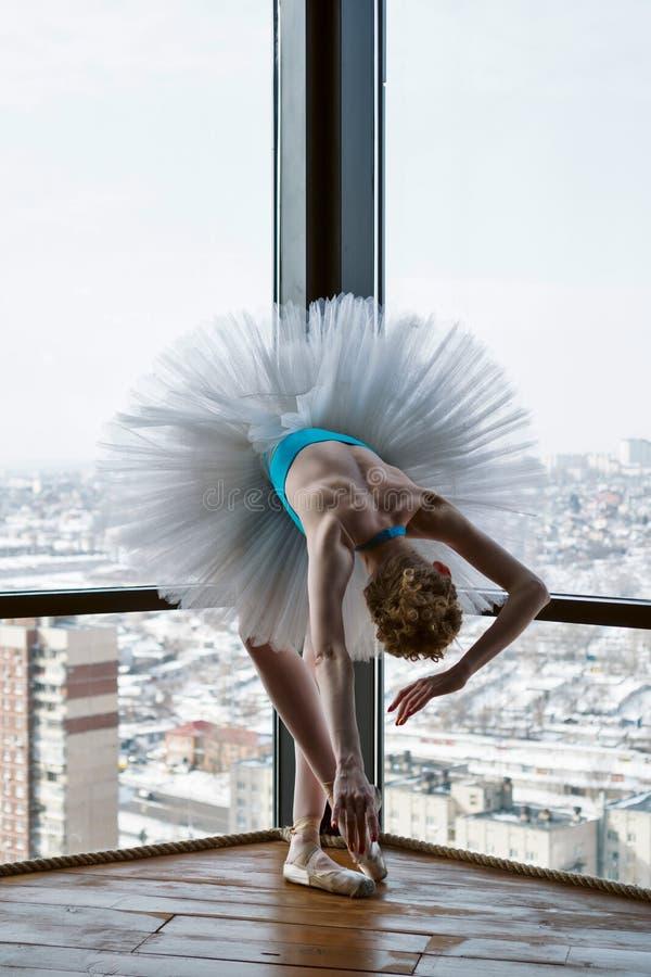Ballerina i balettballerinakjol och pointe royaltyfri foto