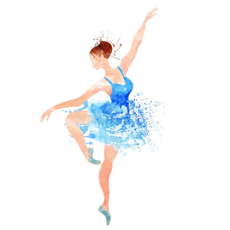 Ballerina i blå vektorvattenfärg royaltyfri illustrationer