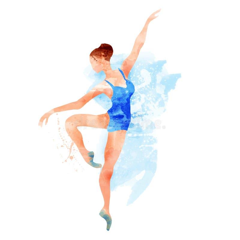 Ballerina i blå vektorvattenfärg vektor illustrationer