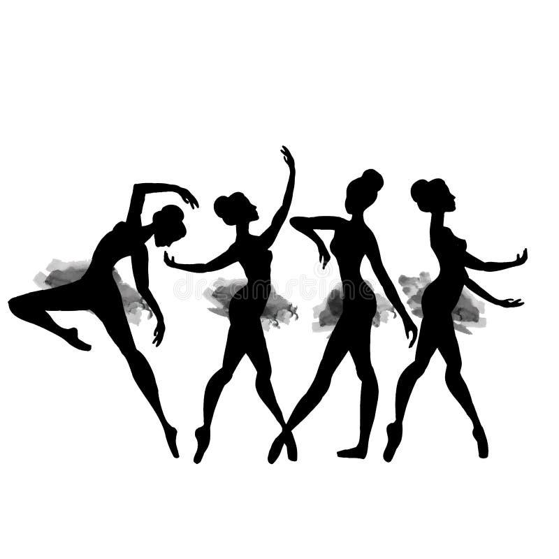Ballerina i dans vattenfärg vektor stock illustrationer