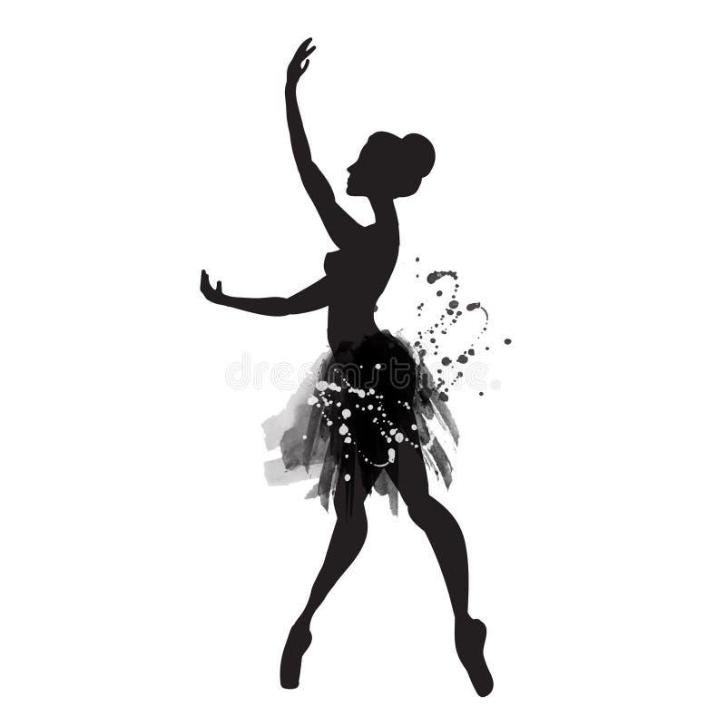 Ballerina i dans vattenfärg vektor vektor illustrationer