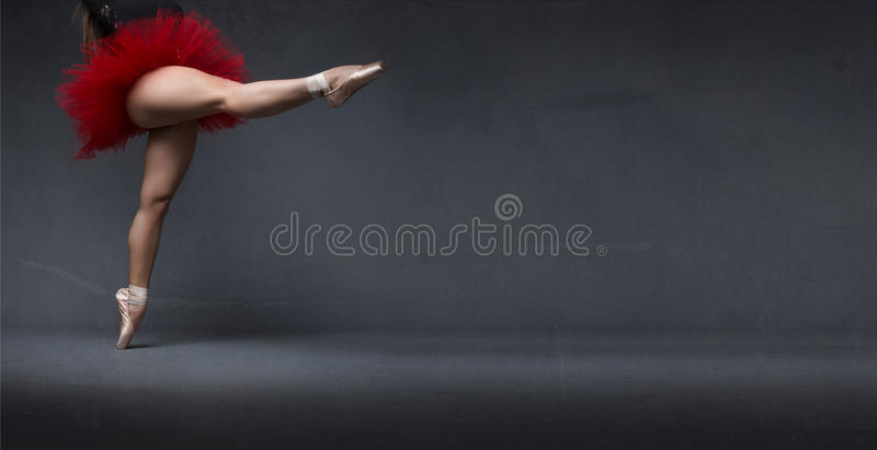 Ballerina indicated space with point royalty free stock images