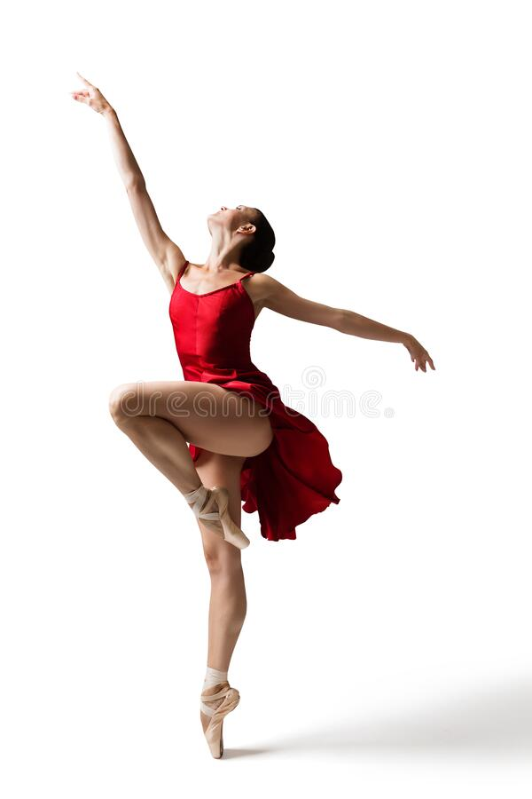 Free Ballerina Jumping, Modern Ballet Dancer In Pointe Shoes, Fluttering Dress, Isolated White Background Stock Photos - 196937513