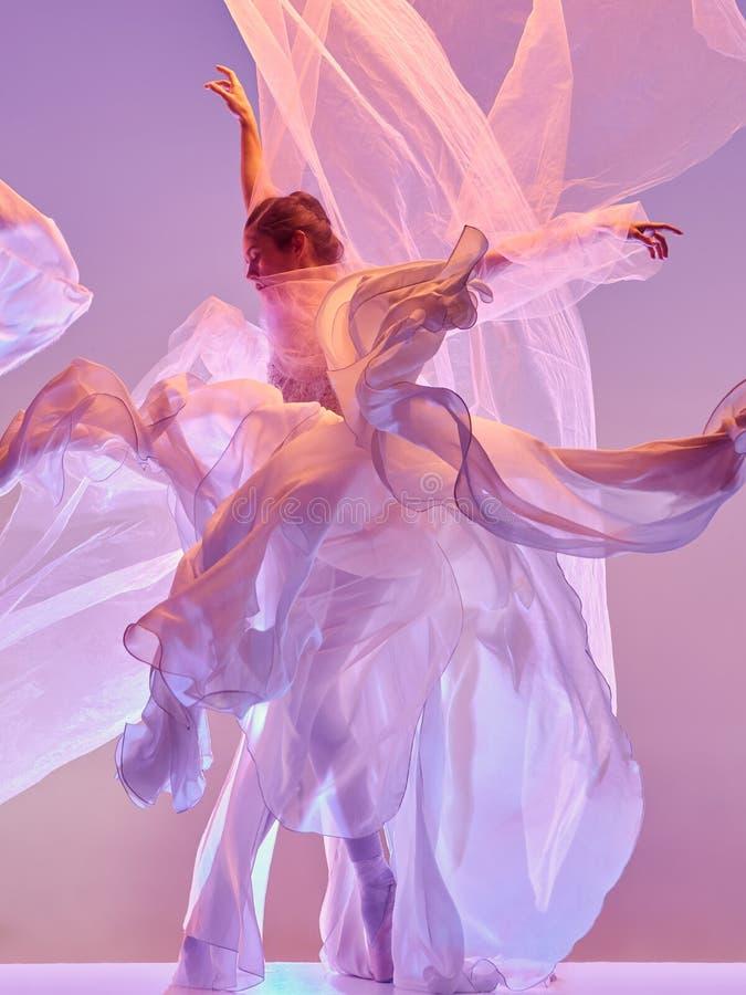 ballerina Junges würdevolles weibliches Balletttänzertanzen über rosa Studio Schönheit des klassischen Balletts lizenzfreies stockbild