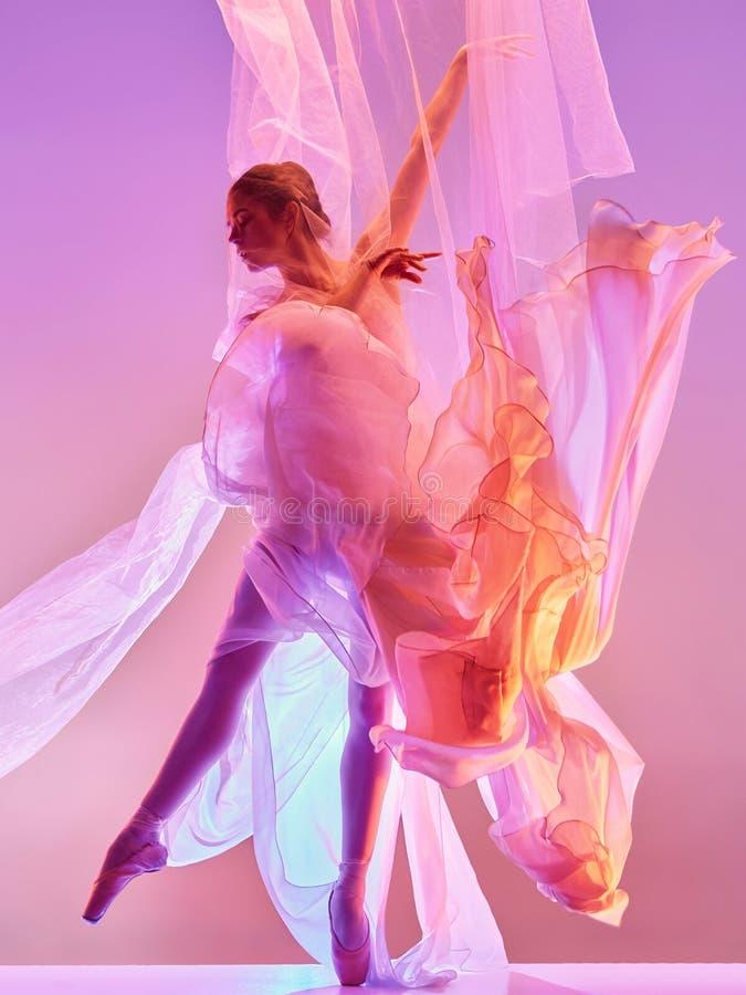 ballerina Junges würdevolles weibliches Balletttänzertanzen über rosa Studio Schönheit des klassischen Balletts lizenzfreie stockfotografie