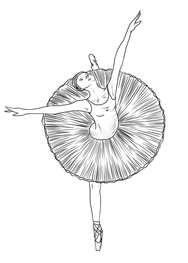 Ballerina - Line Art Stock Photos
