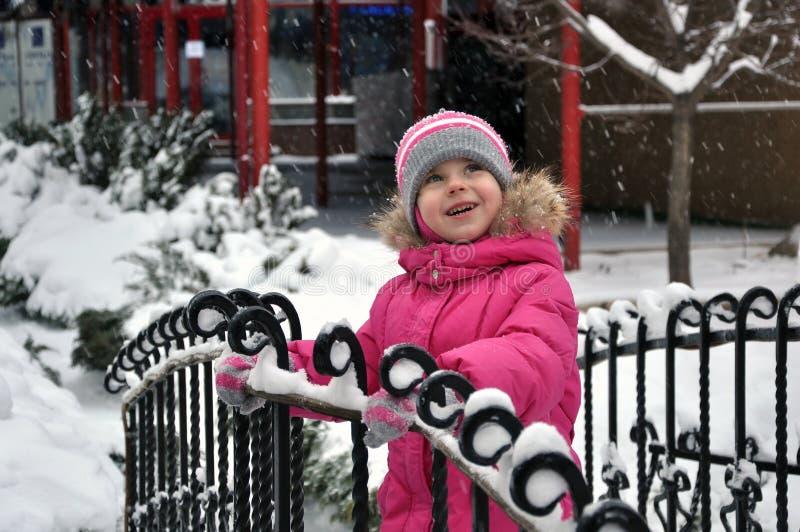 ballerina little snowing royaltyfria foton