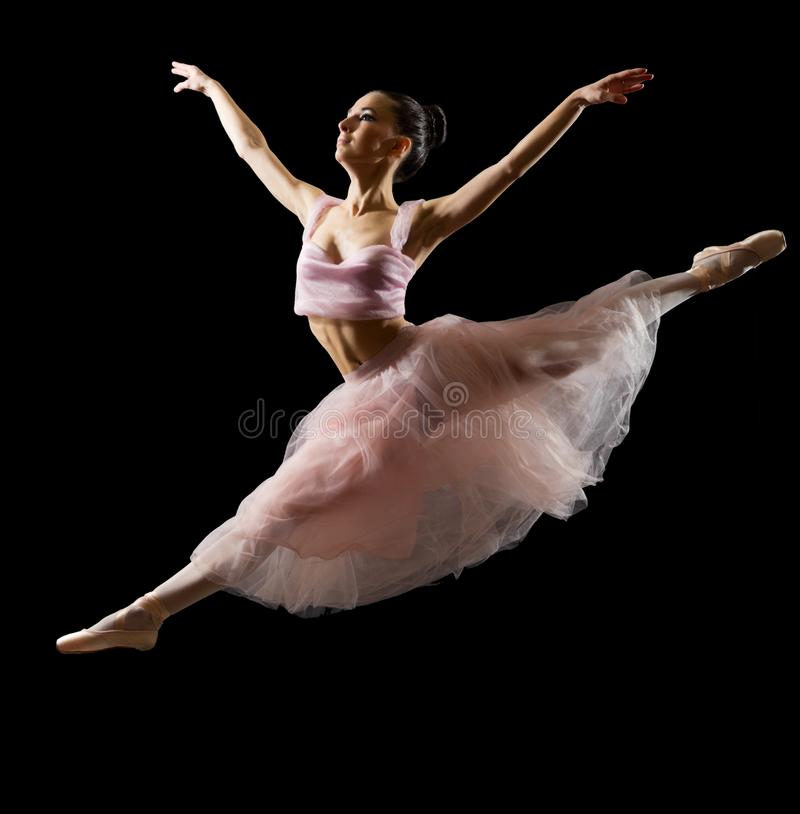 Ballerina lokalisiert auf schwarzer Version lizenzfreies stockfoto
