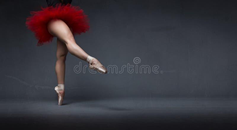 Ballerina med ballerinakjolen som indikeras med foten fotografering för bildbyråer