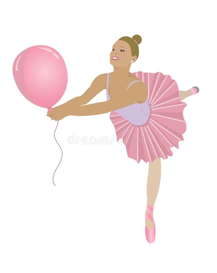 Ballerina mit Ballon lizenzfreie abbildung