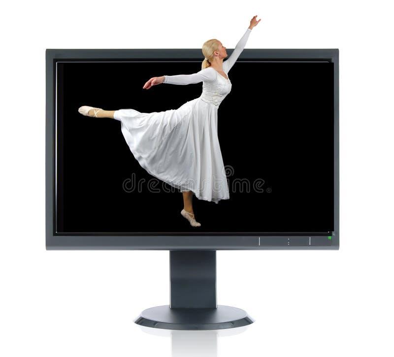 Ballerina and monitor stock image