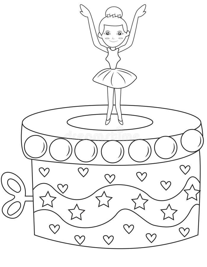 Ballerina music box coloring page vector illustration