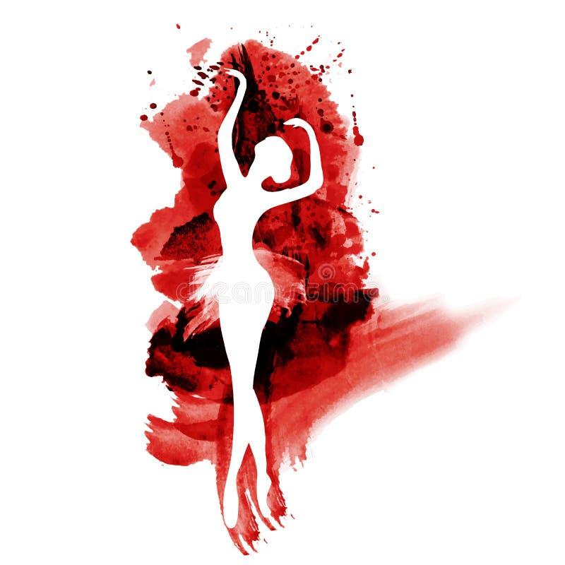 Ballerina nel ballo acquerello in bianco e nero illustrazione di stock