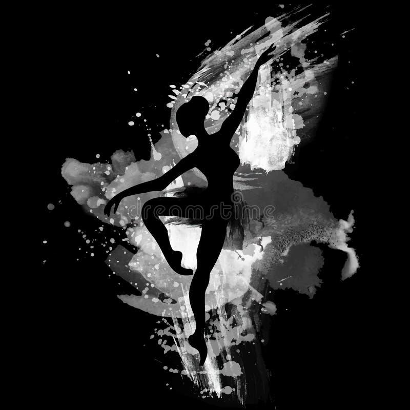 Ballerina nel ballo watercolor illustrazione di stock