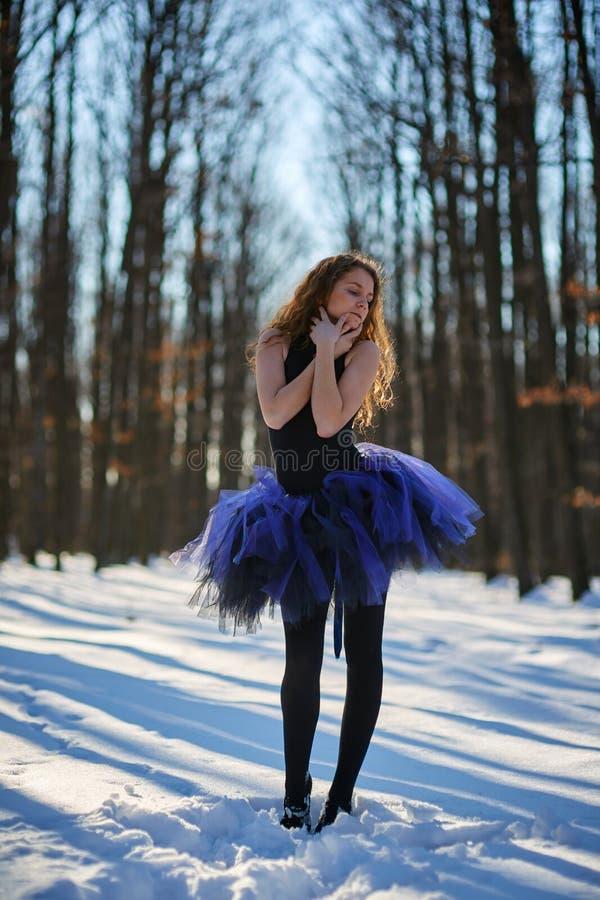 Ballerina nella neve fotografia stock