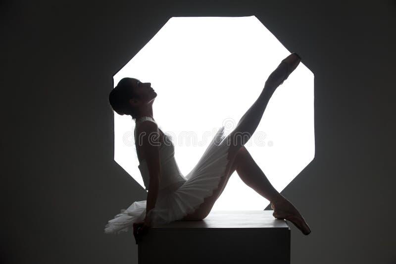 Ballerina op de kubus stock afbeelding