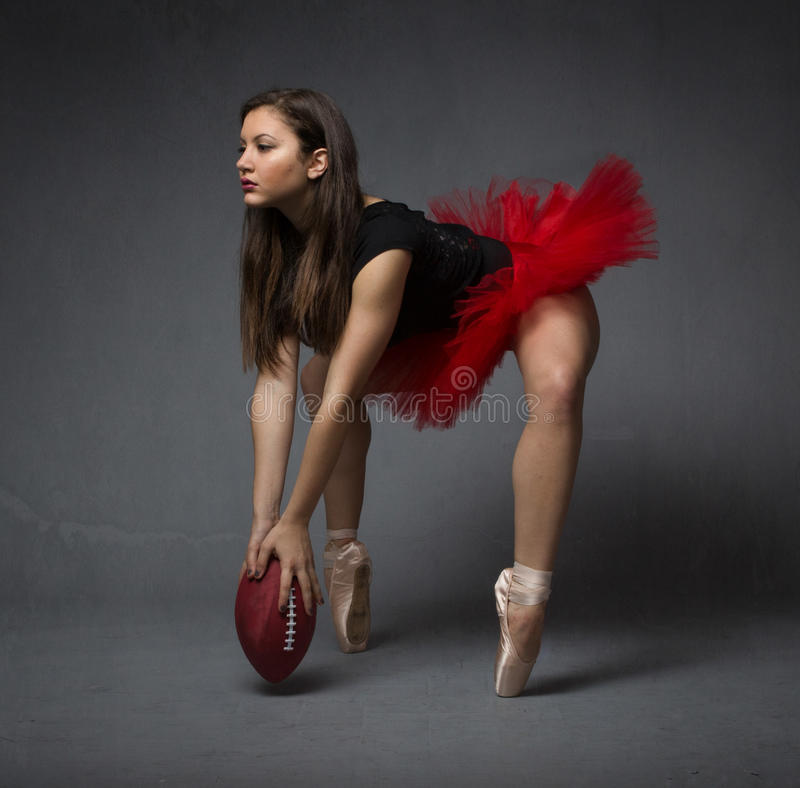Ballerina with oval ball stock images