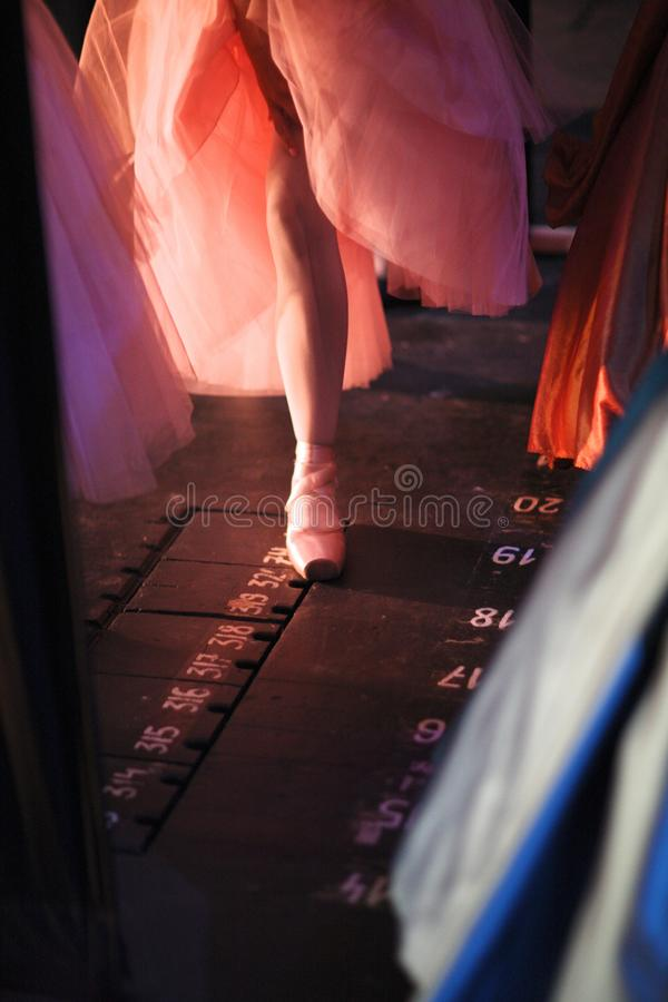 Ballerina in pointe shoes behind the scenes. Of the theater in anticipation of entering the stage stock images
