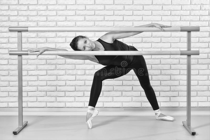 Ballerina posing in barre frame at ballet studio,full length portrait of beautiful woman dancer looking at camera. Blac royalty free stock photography