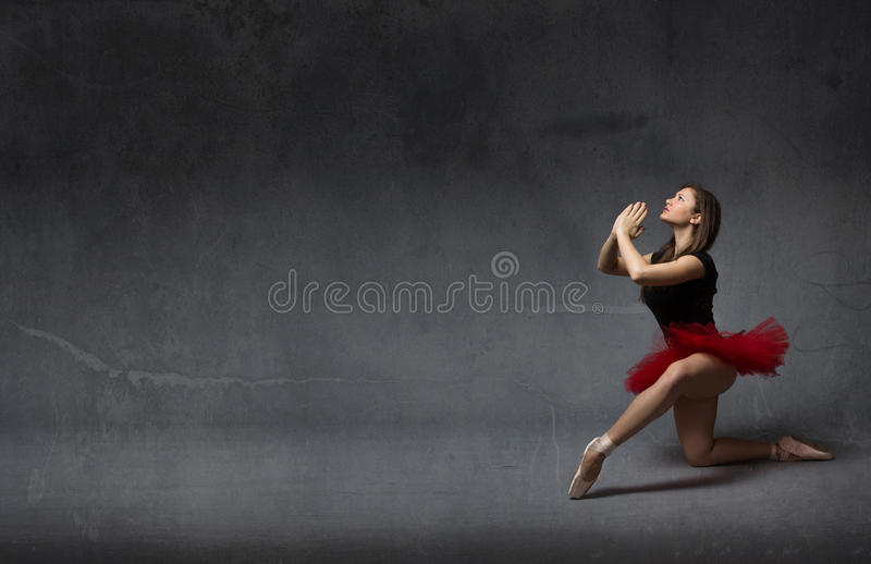 Ballerina praying with hands clapsed royalty free stock photos