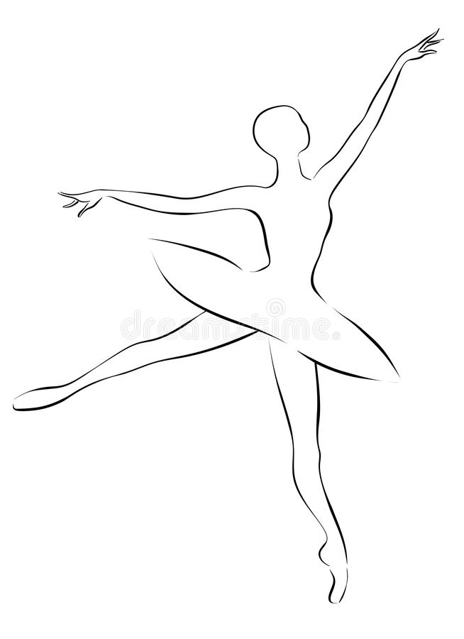 Ballerina - Schwarzweiss-Entwurfszeichnung stockfotografie
