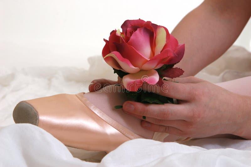 Ballerina Shoe & Rose stock photos