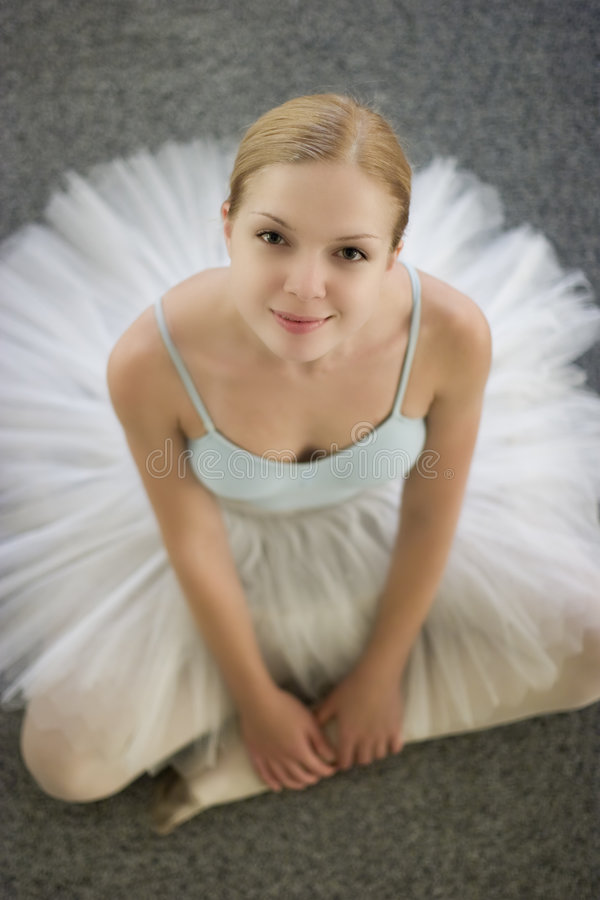 Ballerina with smile royalty free stock photography
