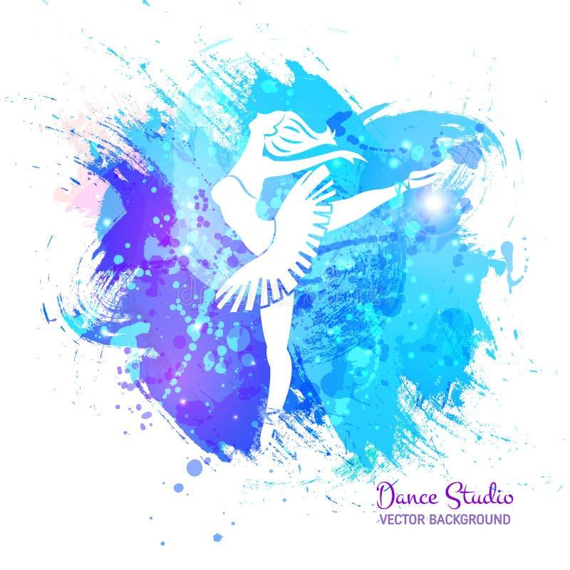 Ballerina sul fondo dell'acquerello illustrazione vettoriale