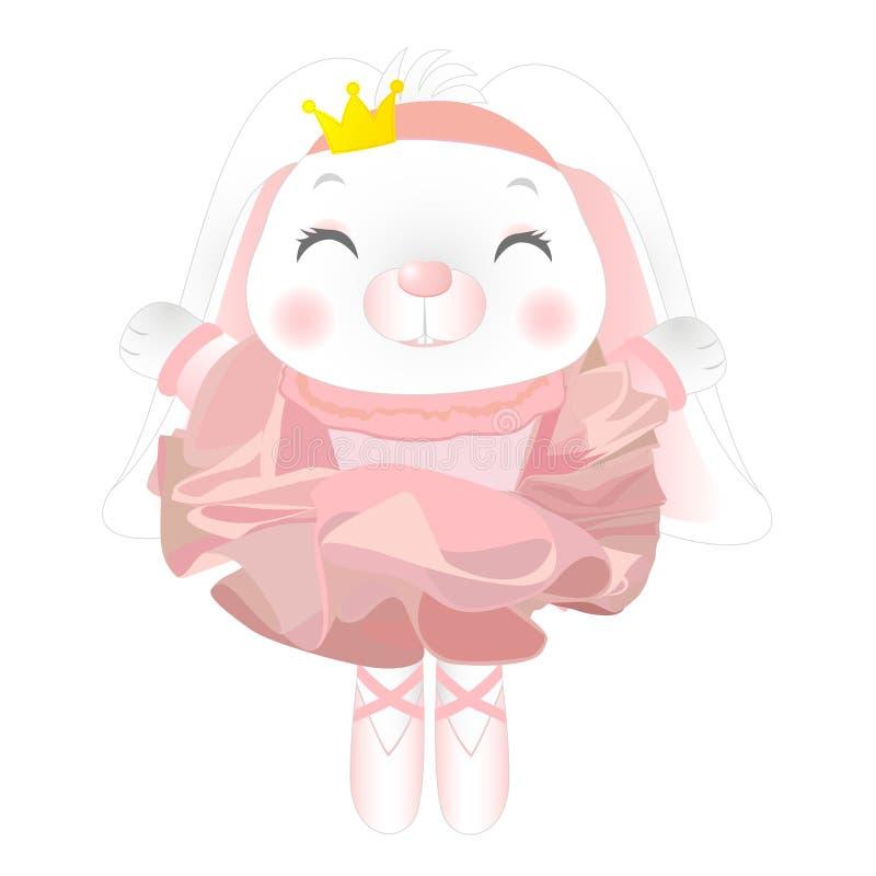 Ballerina sveglia del coniglietto del fumetto Ballerina del coniglio Illustrazione di vettore illustrazione vettoriale