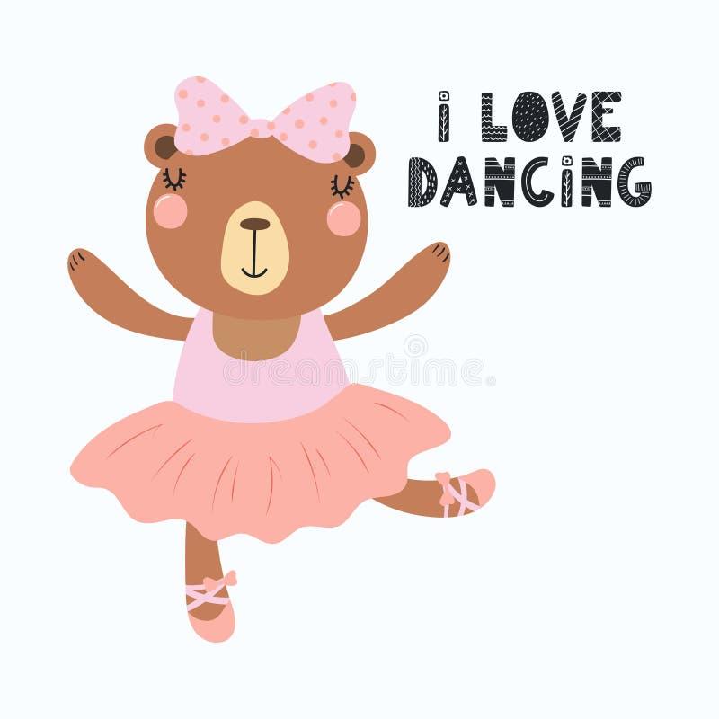 Ballerina sveglia dell'orso illustrazione vettoriale