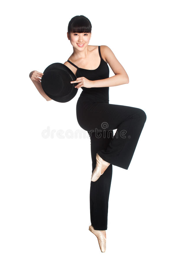 Ballerina with Top Hat royalty free stock photo
