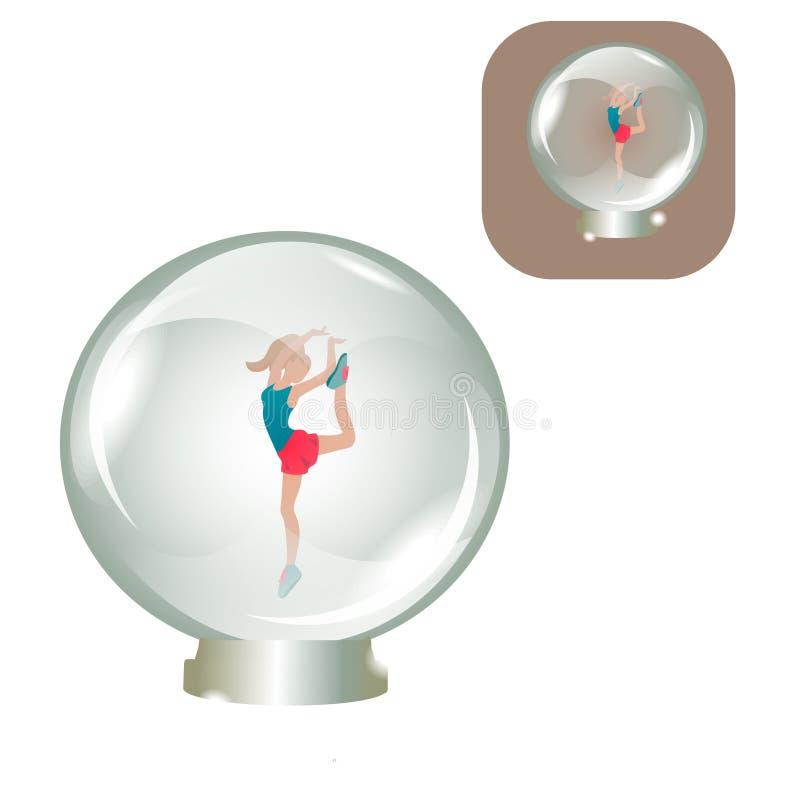 Ballerina in un ricordo della palla di vetro illustrazione di stock