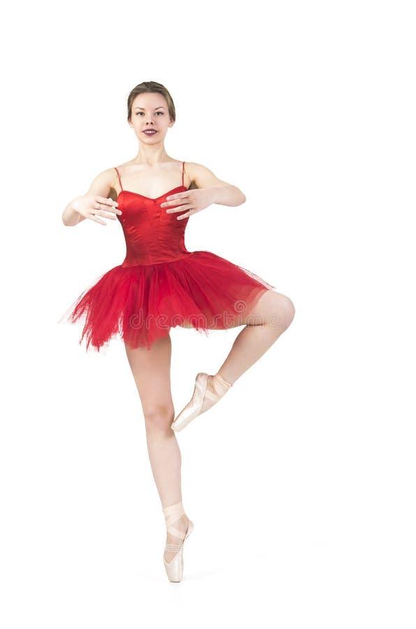 Ballerina in un tutu rosso immagini stock