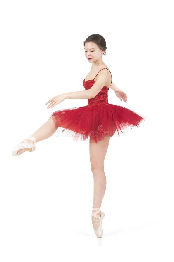 Ballerina in un tutu rosso fotografie stock