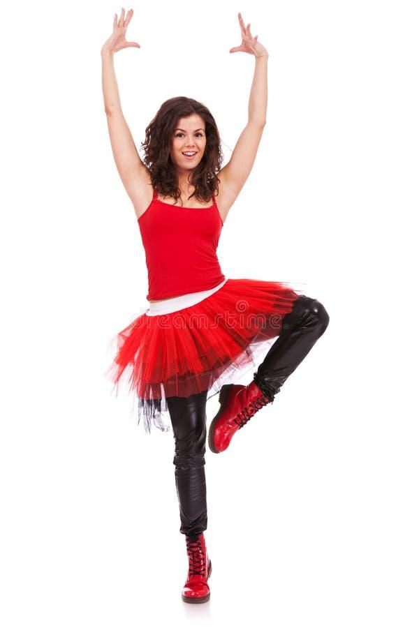 Ballerina in una posizione di piroetta fotografia stock libera da diritti