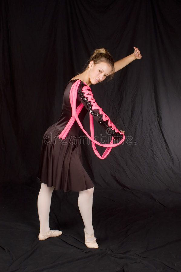 Ballerina in Zwarte royalty-vrije stock afbeeldingen