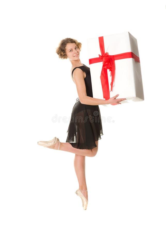 Ballerina in zwarte kleding royalty-vrije stock foto