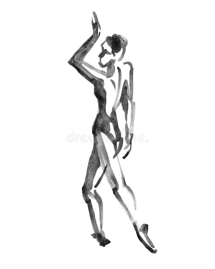 Ballerinadans Vattenfärgillustration på vit bakgrund royaltyfri illustrationer