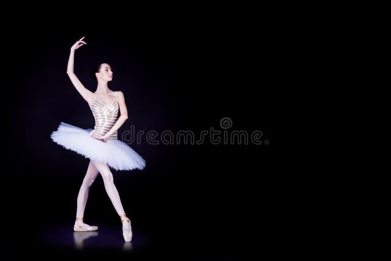 Ballerinadansare i den vita ballerinakjolen royaltyfri foto