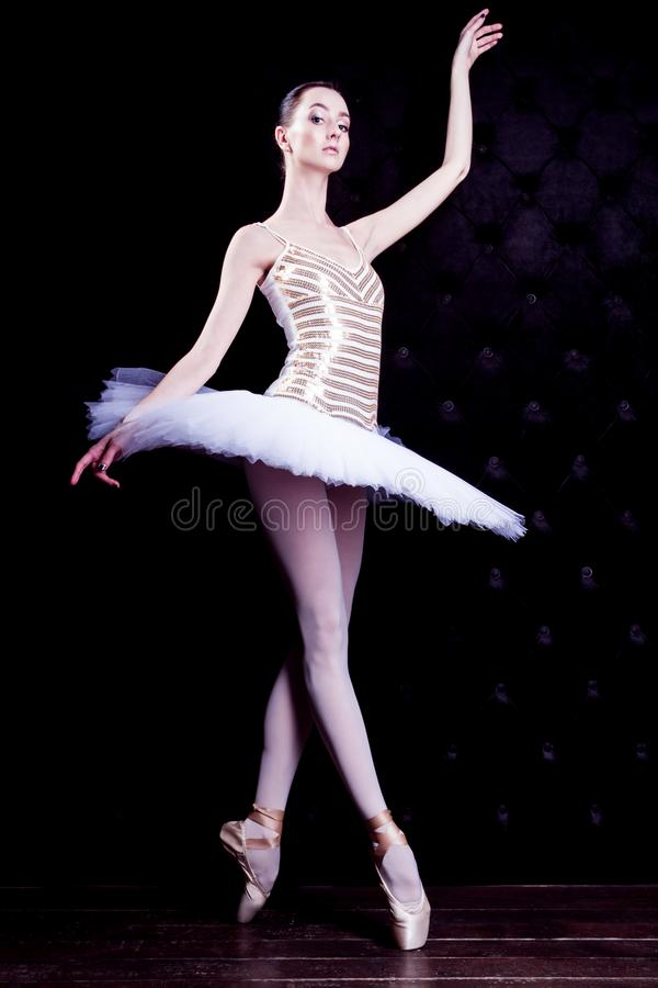 Ballerinadansare i den vita ballerinakjolen arkivfoton